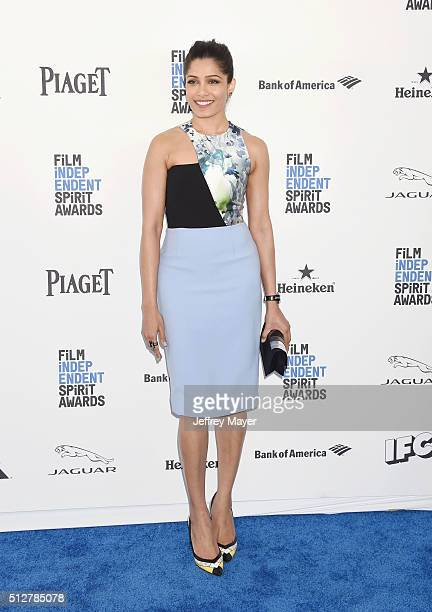 Actress Freida Pinto arrives at the 2016 Film Independent Spirit Awards on February 27 2016 in Santa Monica California