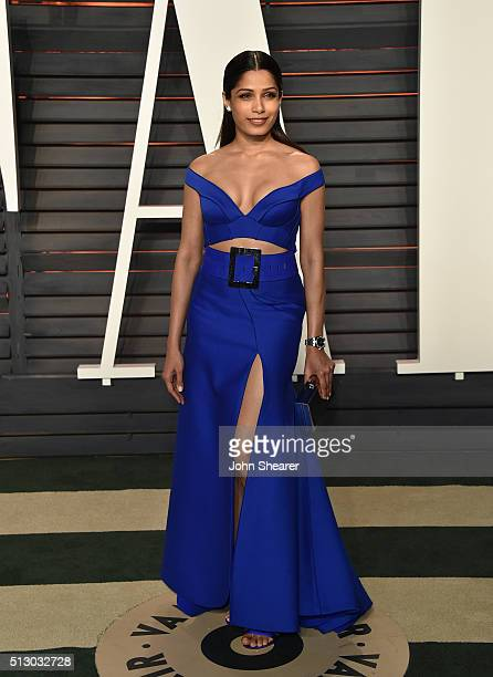 Actress Freida Pinto arrives at the 2016 Vanity Fair Oscar Party Hosted By Graydon Carter at Wallis Annenberg Center for the Performing Arts on...