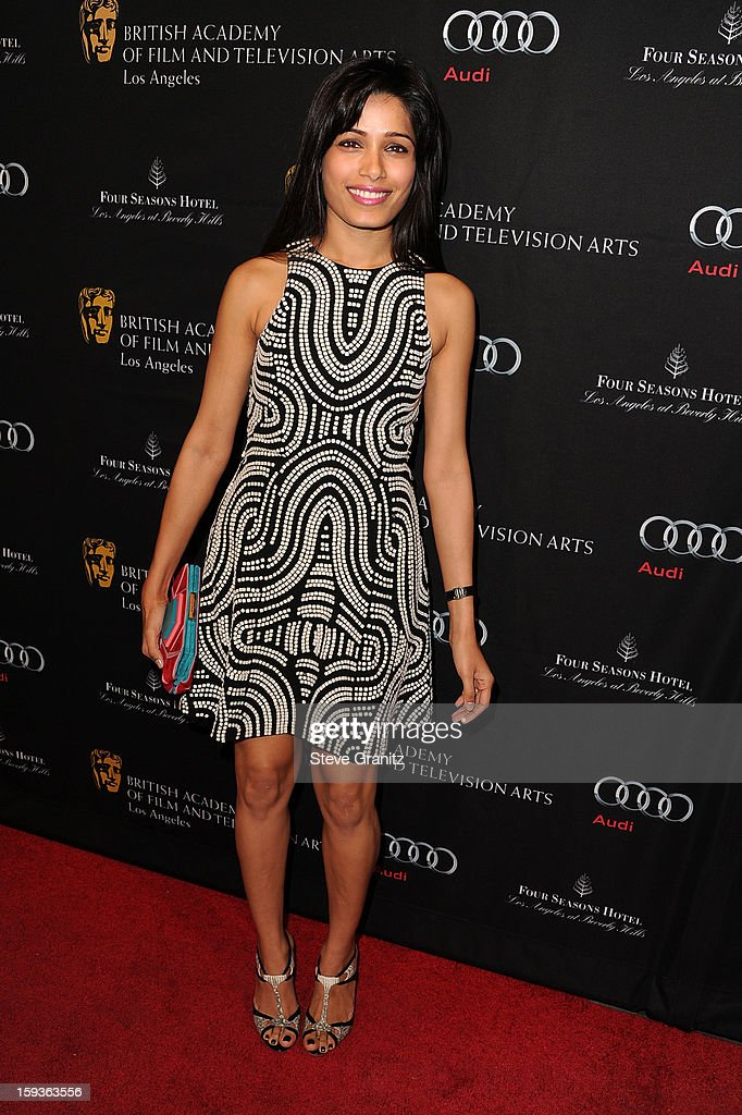Actress Freida Pinto arrives at the BAFTA Los Angeles 2013 Awards Season Tea Party held at the Four Seasons Hotel Los Angeles on January 12, 2013 in Los Angeles, California.