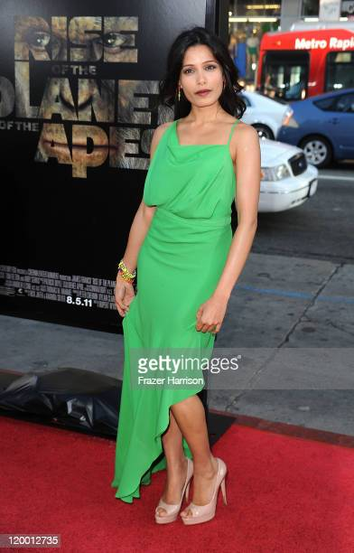 Actress Freida Pinto arrives at the Premiere of 20th Century Fox's 'Rise of the Planet of the Apes' at Grauman's Chinese Theatre on July 28 2011 in...