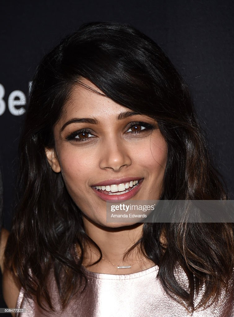 Actress Freida Pinto arrives at the premiere of Substance Over Hype's 'Two Bellmen Two' at the JW Marriott Los Angeles at L.A. LIVE on February 4, 2016 in Los Angeles, California.