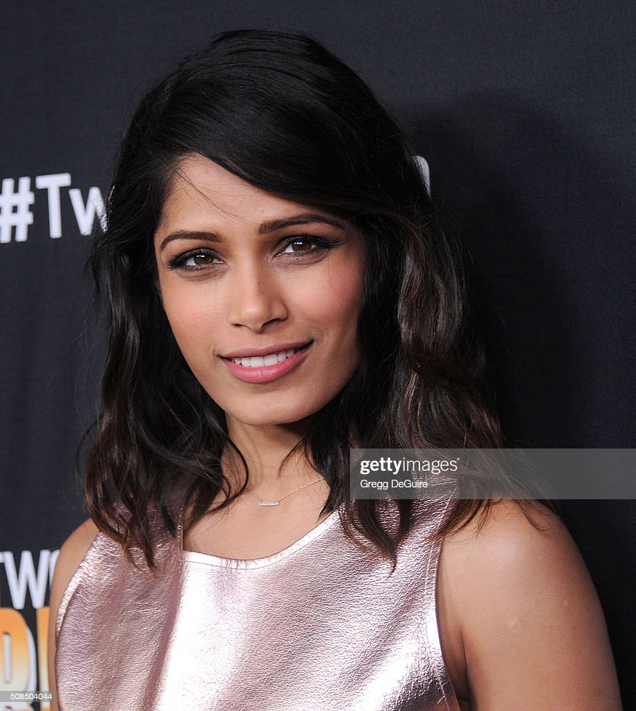 Actress Freida Pinto arrives at the premiere of Substance Over Hype's 'Two Bellmen Two' at JW Marriott Los Angeles at L.A. LIVE on February 4, 2016 in Los Angeles, California.