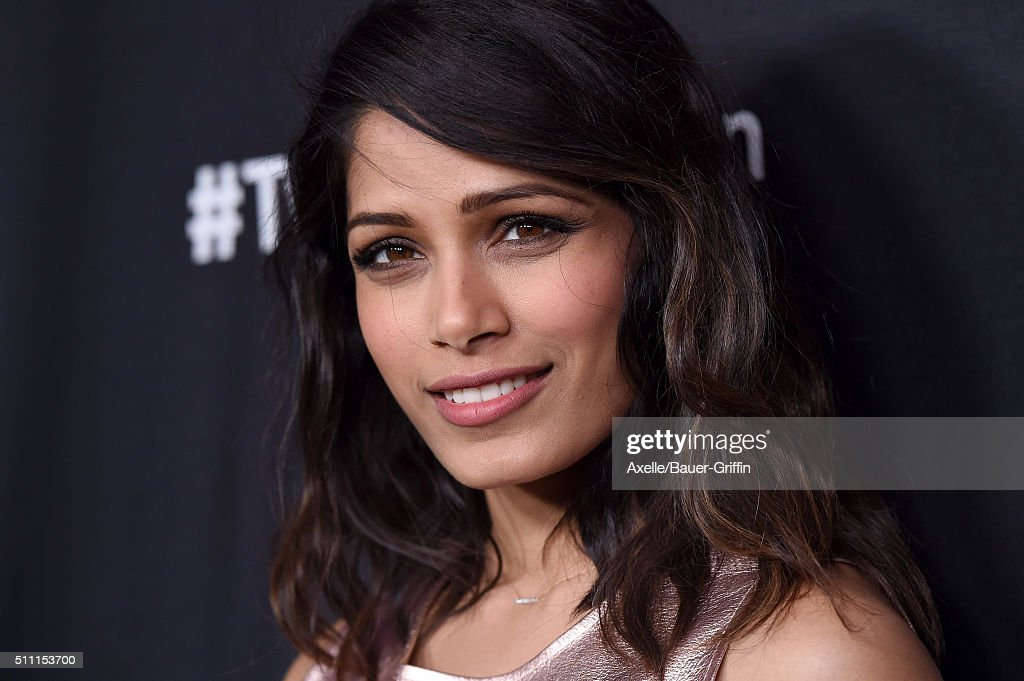 Actress Freida Pinto arrives at the premiere of Substance Over Hype's 'Two Bellmen Two' at JW Marriott Los Angeles at LA LIVE on February 4 2016 in...