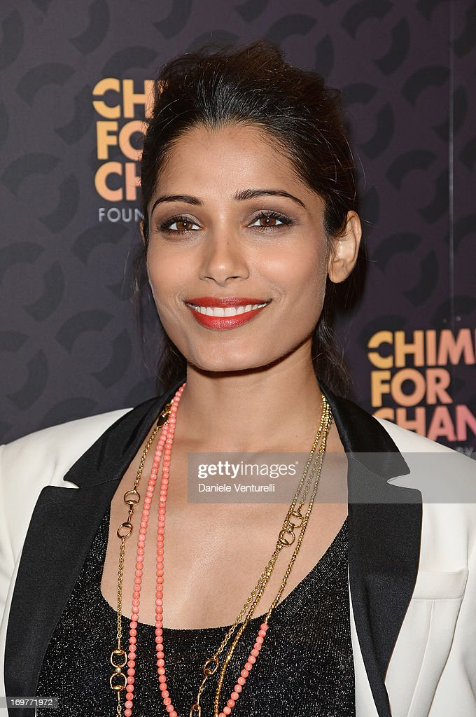 Actress Freida Pinto arrives at the Royal Box photo wall ahead of the 'Chime For Change: The Sound Of Change Live' Concert at Twickenham Stadium on June 1, 2013 in London, England. Chime For Change is a global campaign for girls' and women's empowerment founded by Gucci with a founding committee comprised of Gucci Creative Director Frida Giannini, Salma Hayek Pinault and Beyonce Knowles-Carter.