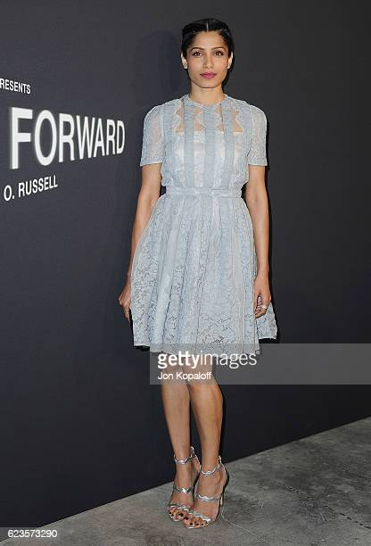Actress Freida Pinto arrives at the screening Of David O Russell's 'Past Forward' hosted by Prada at Hauser Wirth Schimmel on November 15 2016 in Los...