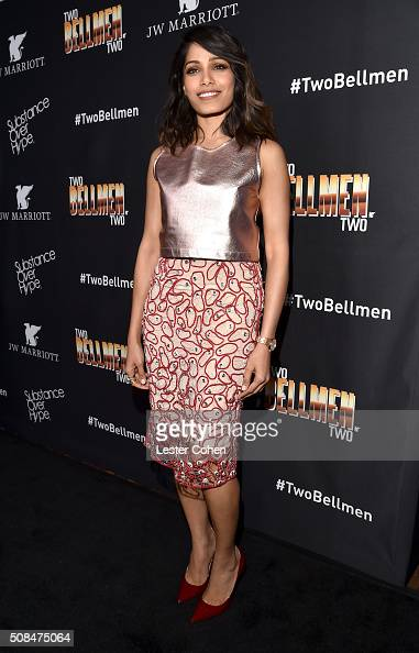 Actress Freida Pinto arrives at the world premiere of 'Two Bellmen Two' at JW Marriott Los Angeles at LA LIVE on February 4 2016 in Los Angeles...