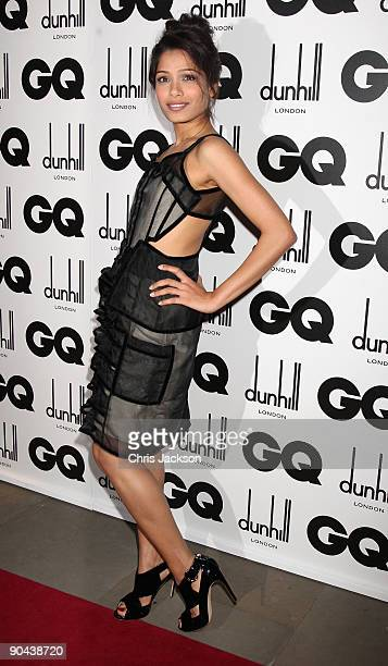 Actress Freida Pinto arrives for the 2009 GQ Men Of The Year Awards at The Royal Opera House on September 8 2009 in London England
