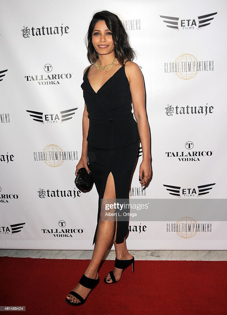 Actress <a gi-track='captionPersonalityLinkClicked' href=/galleries/search?phrase=Freida+Pinto&family=editorial&specificpeople=5518973 ng-click='$event.stopPropagation()'>Freida Pinto</a> arrives for the screening of 'Blunt Force Trauma' held at CAA on July 20, 2015 in Century City, California.