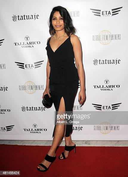 Actress Freida Pinto arrives for the screening of 'Blunt Force Trauma' held at CAA on July 20 2015 in Century City California