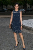 Actress Freida Pinto arrives to attend the Miu Miu Resort Collection Presentation on July 5 2014 in Paris France