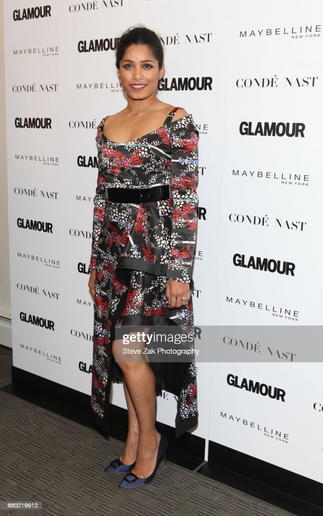 Actress Freida Pinto attends 2017 Glamour International Day Of The Girl Rally at Merkin Concert Hall on October 11, 2017 in New York City.
