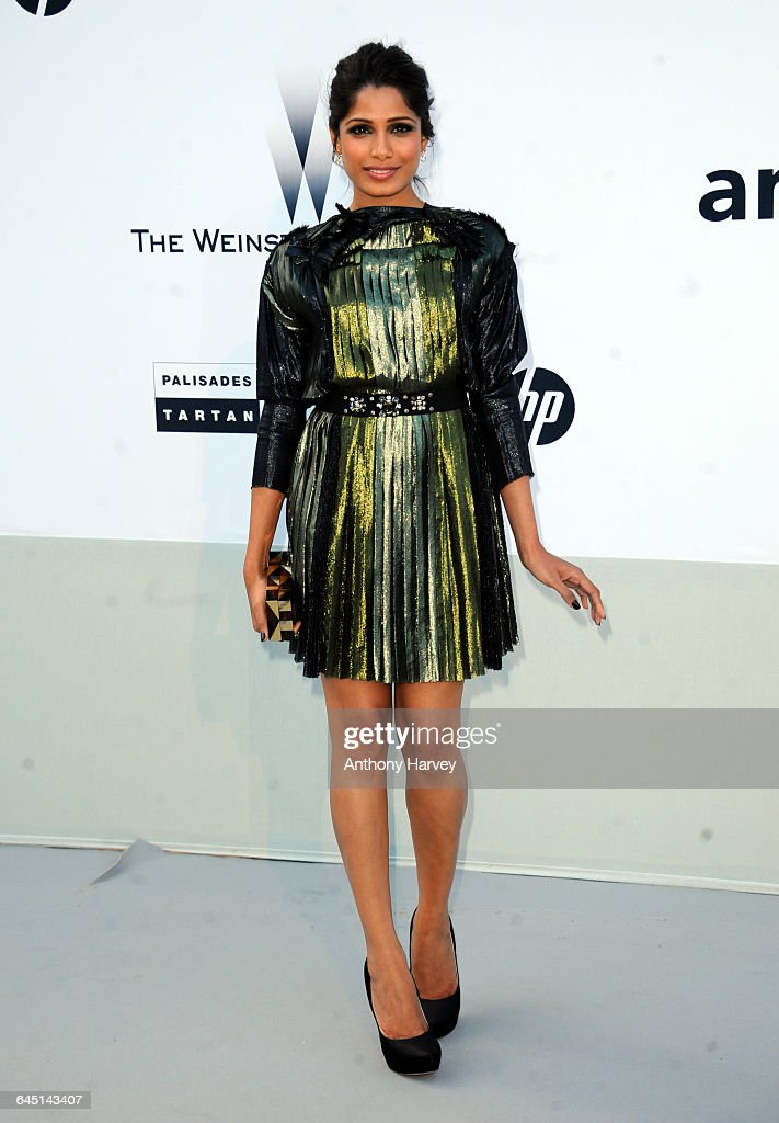Actress Freida Pinto attends amfAR's Cinema Against AIDS Gala during the 64th Annual Cannes Film Festival at Hotel Du Cap on May 19 2011 in Antibes...