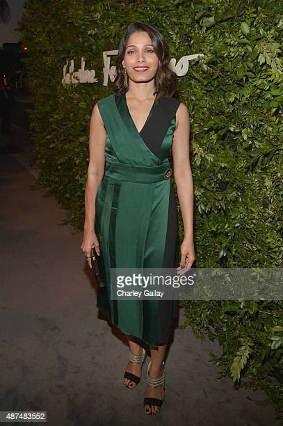 Actress Freida Pinto attends as Ferragamo Celebrates 100 Years in Hollywood at the newly unveiled Ferragamo boutique on September 9 2015 in Beverly...