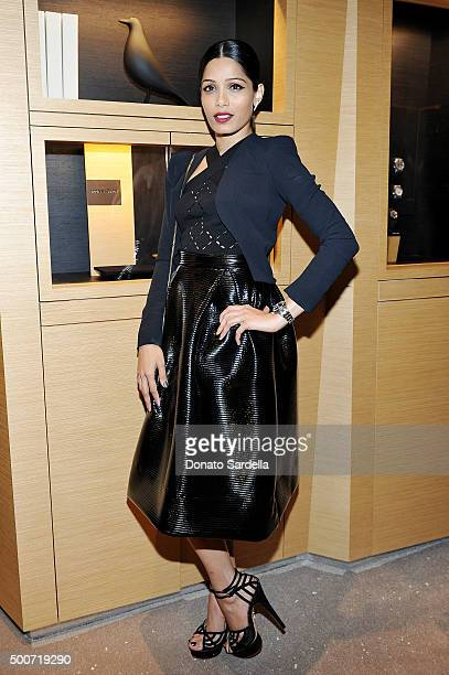 Actress Freida Pinto attends Audemars Piguet Celebrates the opening of Audemars Piguet Rodeo Drive at Audemars Piguet on December 9 2015 in Beverly...