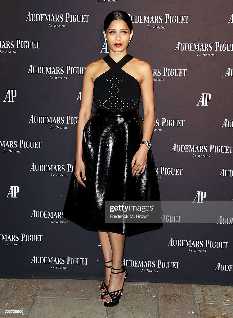 Actress <a gi-track='captionPersonalityLinkClicked' href=/galleries/search?phrase=Freida+Pinto&family=editorial&specificpeople=5518973 ng-click='$event.stopPropagation()'>Freida Pinto</a> attends Audemars Piquet Celebrates Grand Opening of Rodeo Drive Boutique on December 9, 2015 in Beverly Hills, California.