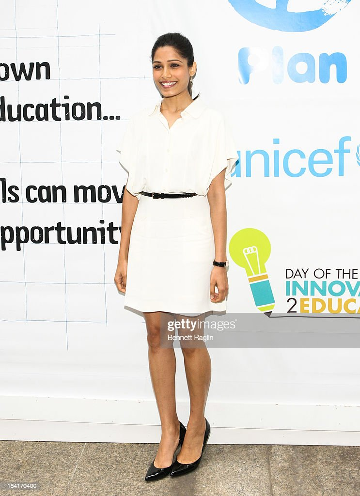 Actress Freida Pinto attends 'Day Of The Girl' Fresco Unveiling With Freida Pinto at UNICEF House on October 11, 2013 in New York City.