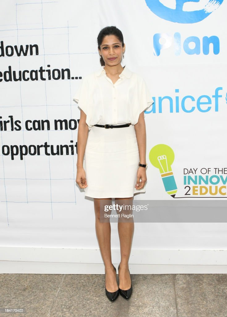Actress <a gi-track='captionPersonalityLinkClicked' href=/galleries/search?phrase=Freida+Pinto&family=editorial&specificpeople=5518973 ng-click='$event.stopPropagation()'>Freida Pinto</a> attends 'Day Of The Girl' Fresco Unveiling With <a gi-track='captionPersonalityLinkClicked' href=/galleries/search?phrase=Freida+Pinto&family=editorial&specificpeople=5518973 ng-click='$event.stopPropagation()'>Freida Pinto</a> at UNICEF House on October 11, 2013 in New York City.