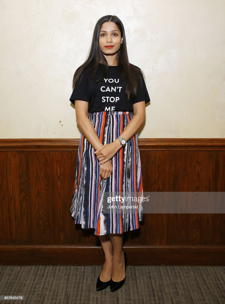 Actress Freida Pinto attends 'Ladies First' New York screening at Tribeca Screening Room on October 4, 2017 in New York City.