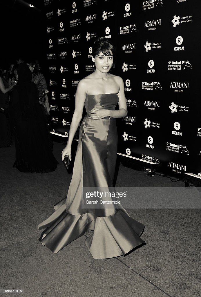 Actress Freida Pinto attends the 2012 Dubai International Film Festival, Dubai Cares and Oxfam 'One Night to Change Lives' Charity Gala at the Armani Hotel on December 14, 2012 in Dubai, United Arab Emirates.