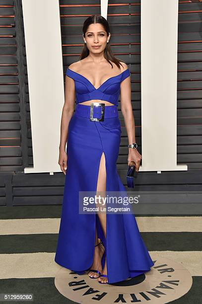 Actress Freida Pinto attends the 2016 Vanity Fair Oscar Party Hosted By Graydon Carter at the Wallis Annenberg Center for the Performing Arts on...