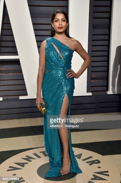 Actress Freida Pinto attends the 2017 Vanity Fair Oscar Party hosted by Graydon Carter at Wallis Annenberg Center for the Performing Arts on February...