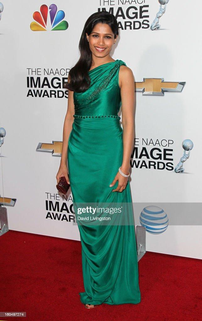 Actress <a gi-track='captionPersonalityLinkClicked' href=/galleries/search?phrase=Freida+Pinto&family=editorial&specificpeople=5518973 ng-click='$event.stopPropagation()'>Freida Pinto</a> attends the 44th NAACP Image Awards at the Shrine Auditorium on February 1, 2013 in Los Angeles, California.
