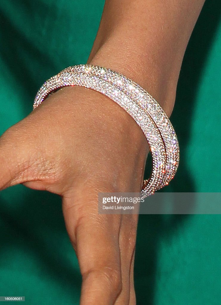 Actress Freida Pinto (bracelet detail) attends the 44th NAACP Image Awards at the Shrine Auditorium on February 1, 2013 in Los Angeles, California.