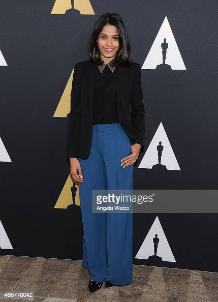 Actress Freida Pinto attends the Academy Nicholl Fellowships Screenwriting Awards at Samuel Goldwyn Theater on November 4 2015 in Beverly Hills...