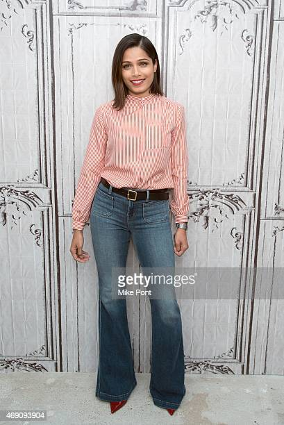 Actress Freida Pinto attends the AOL BUILD Speaker Series The Cast of 'Desert Dancer' at AOL Studios In New York on April 9 2015 in New York City