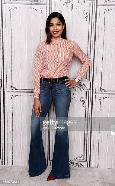 Actress Freida Pinto attends the AOL BUILD Speaker Series with the cast of 'Desert Dancer' at AOL Studios on April 9 2015 in New York City