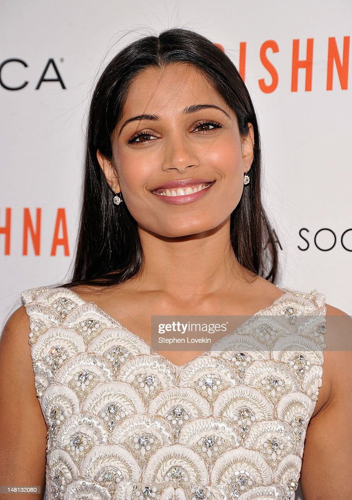 Actress <a gi-track='captionPersonalityLinkClicked' href=/galleries/search?phrase=Freida+Pinto&family=editorial&specificpeople=5518973 ng-click='$event.stopPropagation()'>Freida Pinto</a> attends the Cinema Society with Rachel Roy & Circa screening Of 'Trishna' after party at the IFC Center on July 10, 2012 in New York City.