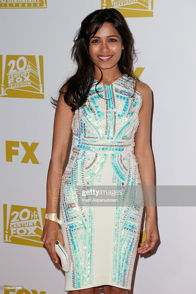 Actress <a gi-track='captionPersonalityLinkClicked' href=/galleries/search?phrase=Freida+Pinto&family=editorial&specificpeople=5518973 ng-click='$event.stopPropagation()'>Freida Pinto</a> attends the Fox Searchlight 2013 Golden Globe Awards Party on January 13, 2013 in Beverly Hills, California.