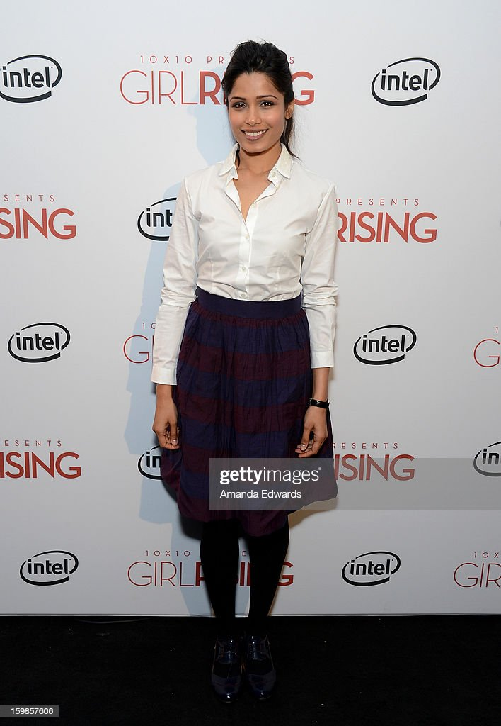 Actress Freida Pinto attends the Intel Event at The Shop during the 2013 Sundance Film Festival on January 21, 2013 in Park City, Utah.