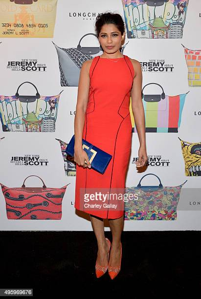 Actress Freida Pinto attends the Jeremy Scott for Longchamp 10th Anniversary held at a Private Residence on November 5 2015 in Beverly Hills...