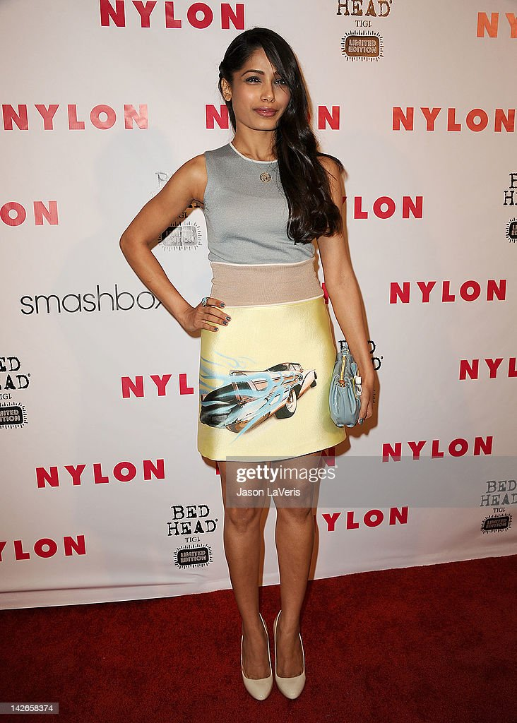 Actress Freida Pinto attends the NYLON Magazine 13th anniversary celebration at Smashbox West Hollywood on April 10 2012 in West Hollywood California