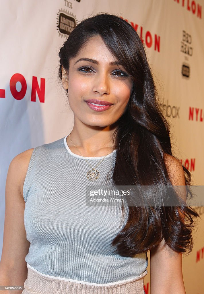 Actress <a gi-track='captionPersonalityLinkClicked' href=/galleries/search?phrase=Freida+Pinto&family=editorial&specificpeople=5518973 ng-click='$event.stopPropagation()'>Freida Pinto</a> attends the NYLON Magazine 13th Anniversary Celebration Presented by Beadhead by Tigi at Smashbox West Hollywood on April 10, 2012 in West Hollywood, California.