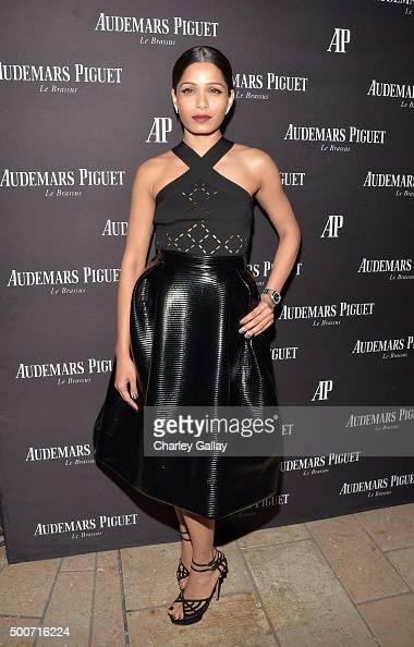Actress Freida Pinto attends the Opening of Audemars Piguet Rodeo Drive at Audemars Piguet on December 9 2015 in Beverly Hills California