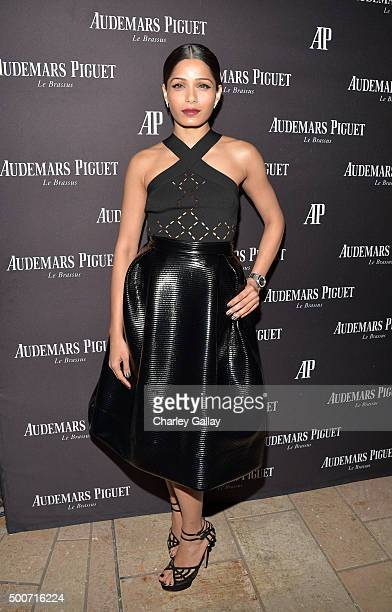 Actress Freida Pinto attends the Opening of Audemars Piguet Rodeo Drive at Audemars Piguet on December 9 2015 in Beverly Hills California