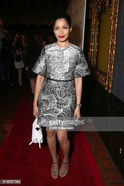 Actress Freida Pinto attends the premiere of Broad Green Pictures' 'Knight Of Cups' on March 1 2016 in Los Angeles California