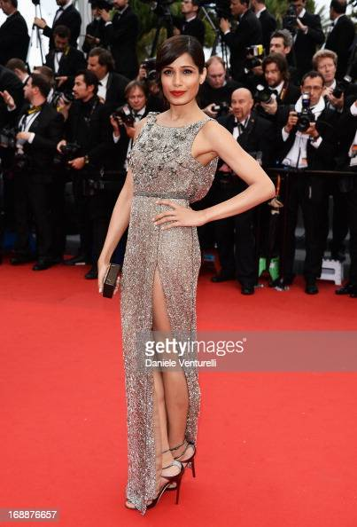 Actress Freida Pinto attends the Premiere of 'Jeune Jolie' at The 66th Annual Cannes Film Festival at Palais des Festivals on May 16 2013 in Cannes...