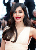Actress Freida Pinto attends the 'Saint Laurent' Premiere at the 67th Annual Cannes Film Festival on May 17 2014 in Cannes France