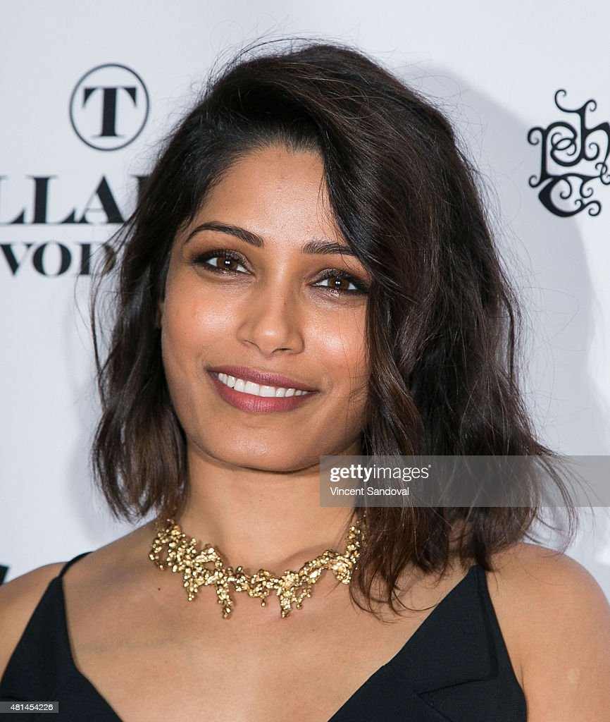 Actress Freida Pinto attends the screening of 'Blunt Force Trauma' at CAA on July 20, 2015 in Los Angeles, California.