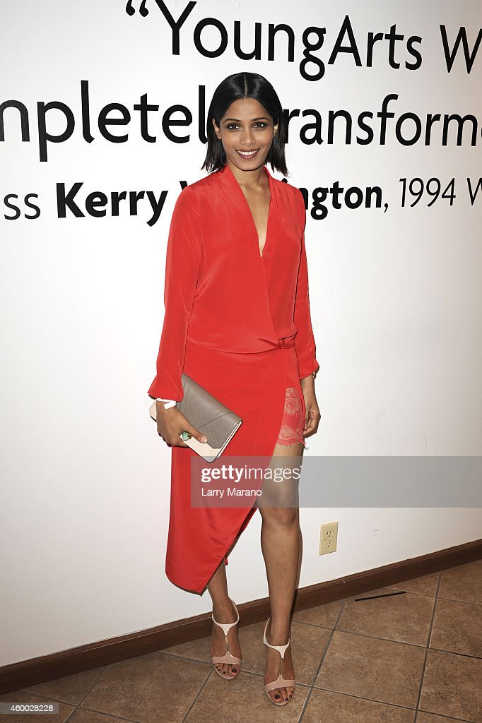 Actress <a gi-track='captionPersonalityLinkClicked' href=/galleries/search?phrase=Freida+Pinto&family=editorial&specificpeople=5518973 ng-click='$event.stopPropagation()'>Freida Pinto</a> attends the YoungArts and MoMa PS1 reception celebrating Zero Tolerance: Miami on December 5, 2014 in Miami, Florida.