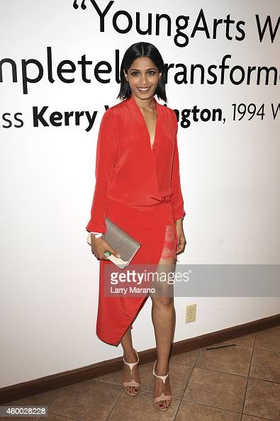 Actress Freida Pinto attends the YoungArts and MoMa PS1 reception celebrating Zero Tolerance Miami on December 5 2014 in Miami Florida