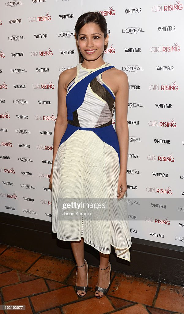Actress Freida Pinto attends Vanity Fair and L'Oréal Paris-hosted D.J. Night with Freida Pinto in support of 10 x 10 and 'Girl Rising' at Teddy's at The Hollywood Roosevelt Hotel on February 19, 2013 in Los Angeles, California.