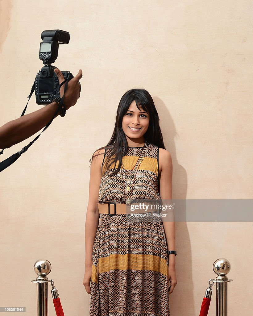 Actress <a gi-track='captionPersonalityLinkClicked' href=/galleries/search?phrase=Freida+Pinto&family=editorial&specificpeople=5518973 ng-click='$event.stopPropagation()'>Freida Pinto</a> during a portrait session on day six of the 9th Annual Dubai International Film Festival held at the Madinat Jumeriah Complex on December 14, 2012 in Dubai, United Arab Emirates.