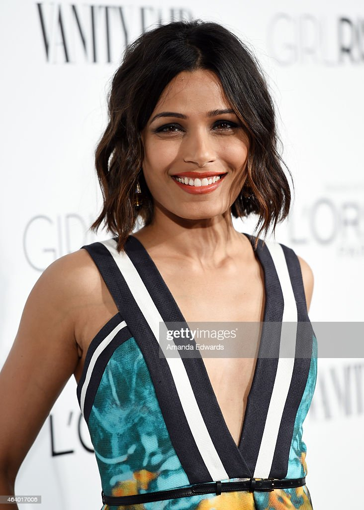 Actress <a gi-track='captionPersonalityLinkClicked' href=/galleries/search?phrase=Freida+Pinto&family=editorial&specificpeople=5518973 ng-click='$event.stopPropagation()'>Freida Pinto</a> hosts the Vanity Fair And L'Oreal Paris Girl Rising benefit at 1 OAK on February 20, 2015 in West Hollywood, California.