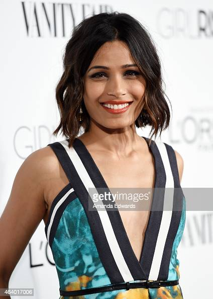 Actress Freida Pinto hosts the Vanity Fair And L'Oreal Paris Girl Rising benefit at 1 OAK on February 20 2015 in West Hollywood California