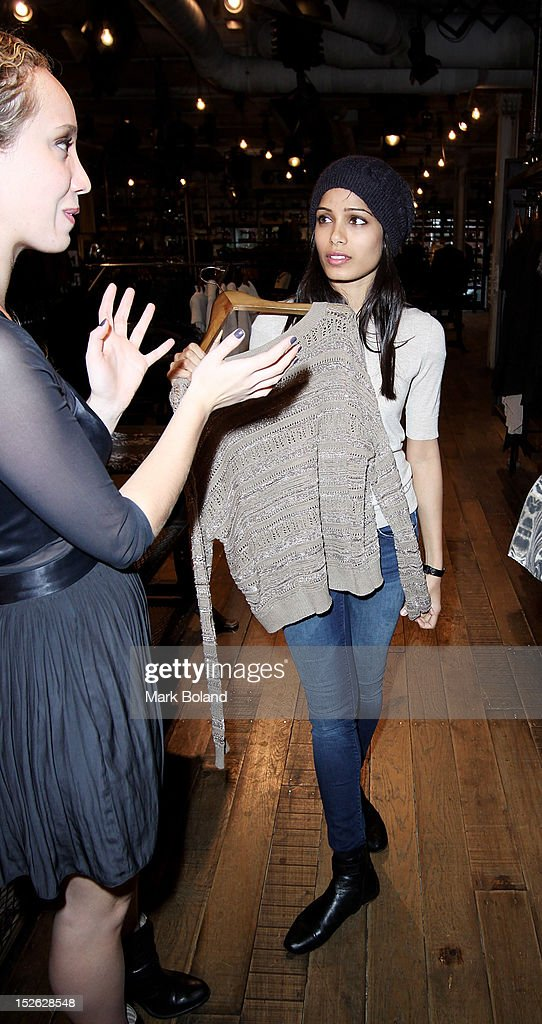 Actress <a gi-track='captionPersonalityLinkClicked' href=/galleries/search?phrase=Freida+Pinto&family=editorial&specificpeople=5518973 ng-click='$event.stopPropagation()'>Freida Pinto</a> is seen visiting All Saints on September 23, 2012 in London, England.