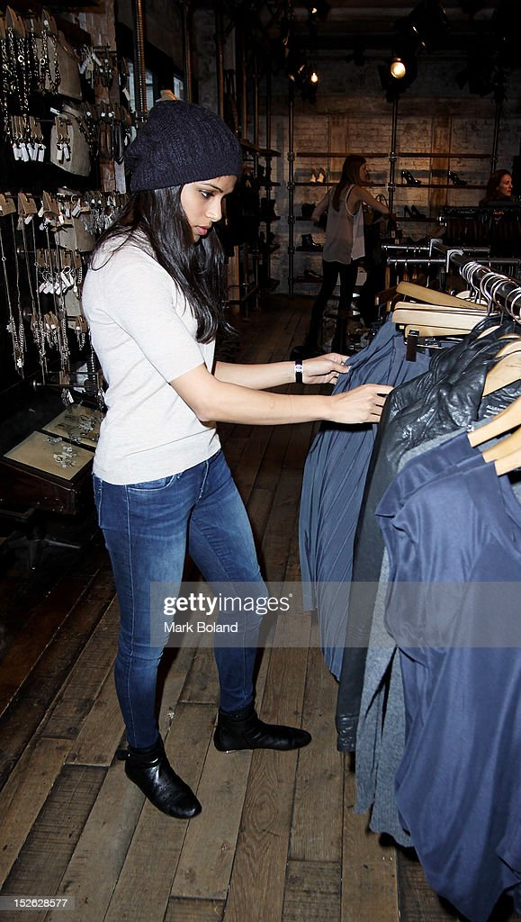 Actress Freida Pinto is seen visiting All Saints on September 23, 2012 in London, England.